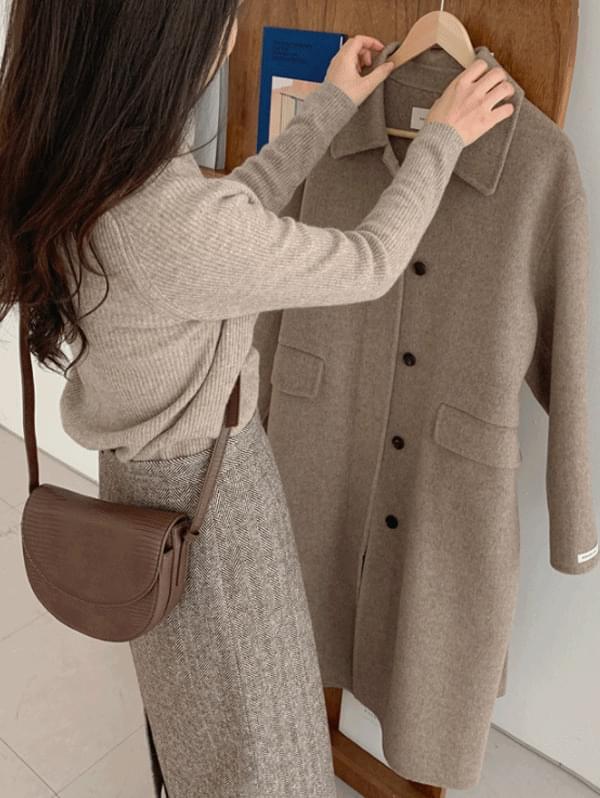 Hidden single handmade coat - wool 90%