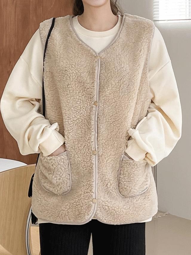 Big Size 55-120 Vuena Pocket Fleece Vest