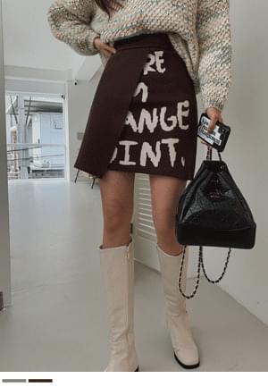 Lettering Unfooted Knitwear Skirt