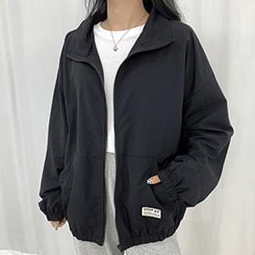 patch windbreaker zip-up Jacket