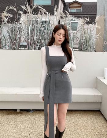 Riven Square Neck Slim Fit Sleeveless Dress