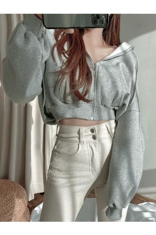warm Fleece-lined cropped hoodie
