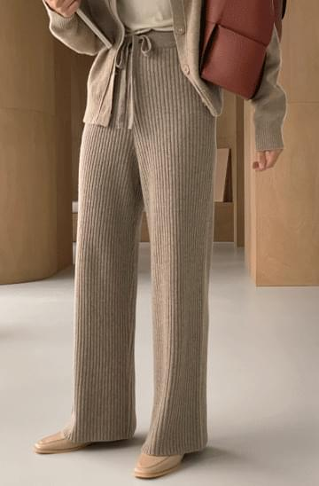 Ribbed Knitwear Trousers