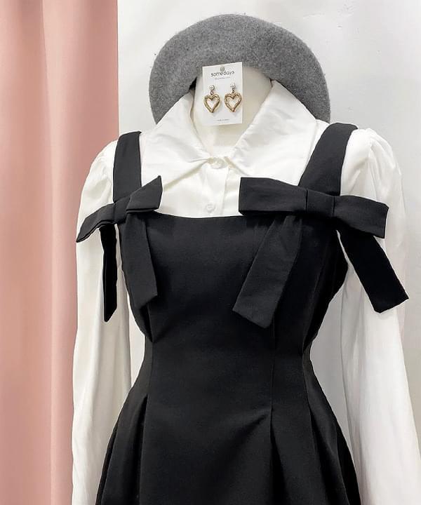 Tiny Blouse + Ribbon Sleeveless Dress 2color