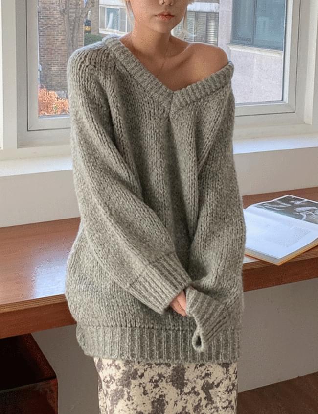 Net Loose V- V-Neck Knitwear