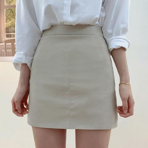 High Quality Leather High Waist A-Line Mini Skirt Skirt T#YW675