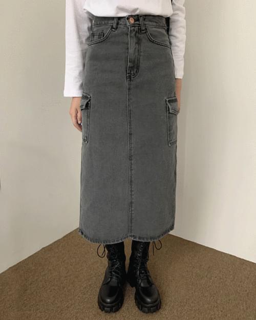 Chessy Cargo Pocket Long Denim Skirt