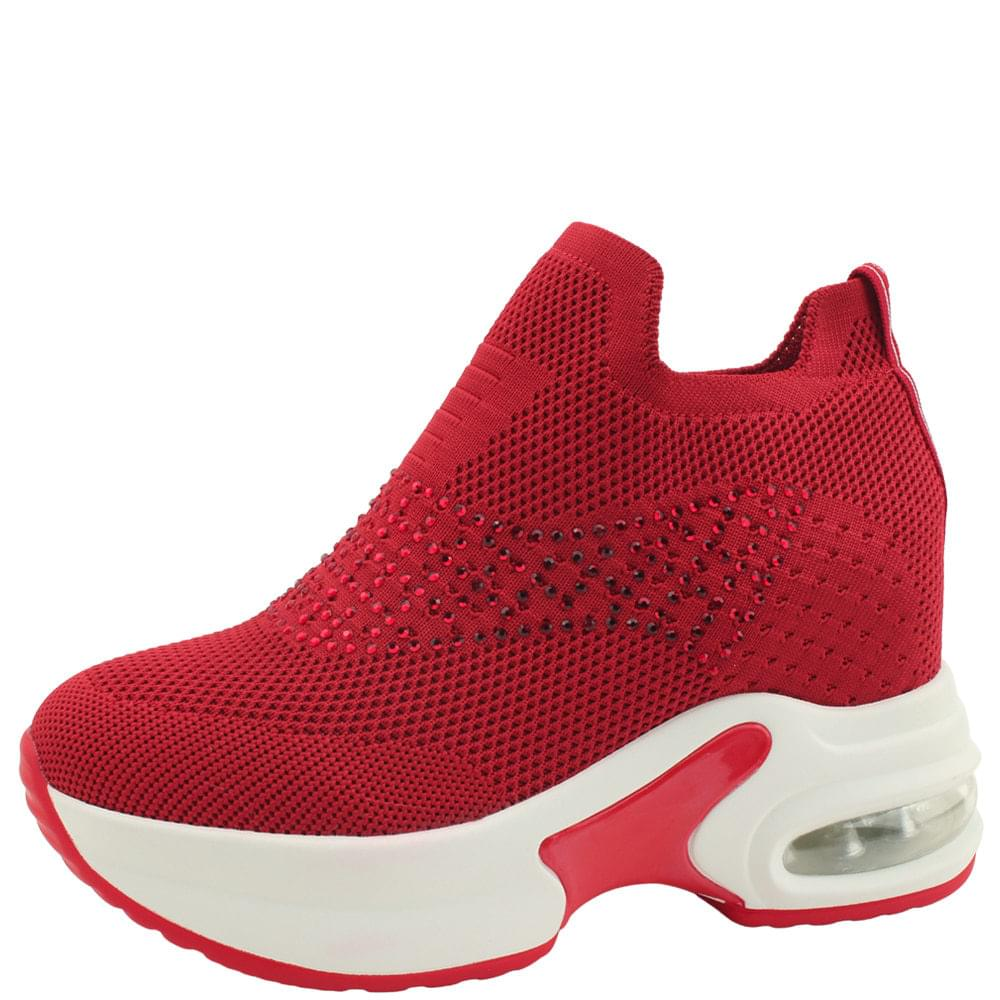 Knitwear Cubic Studded Tall Sneakers Red