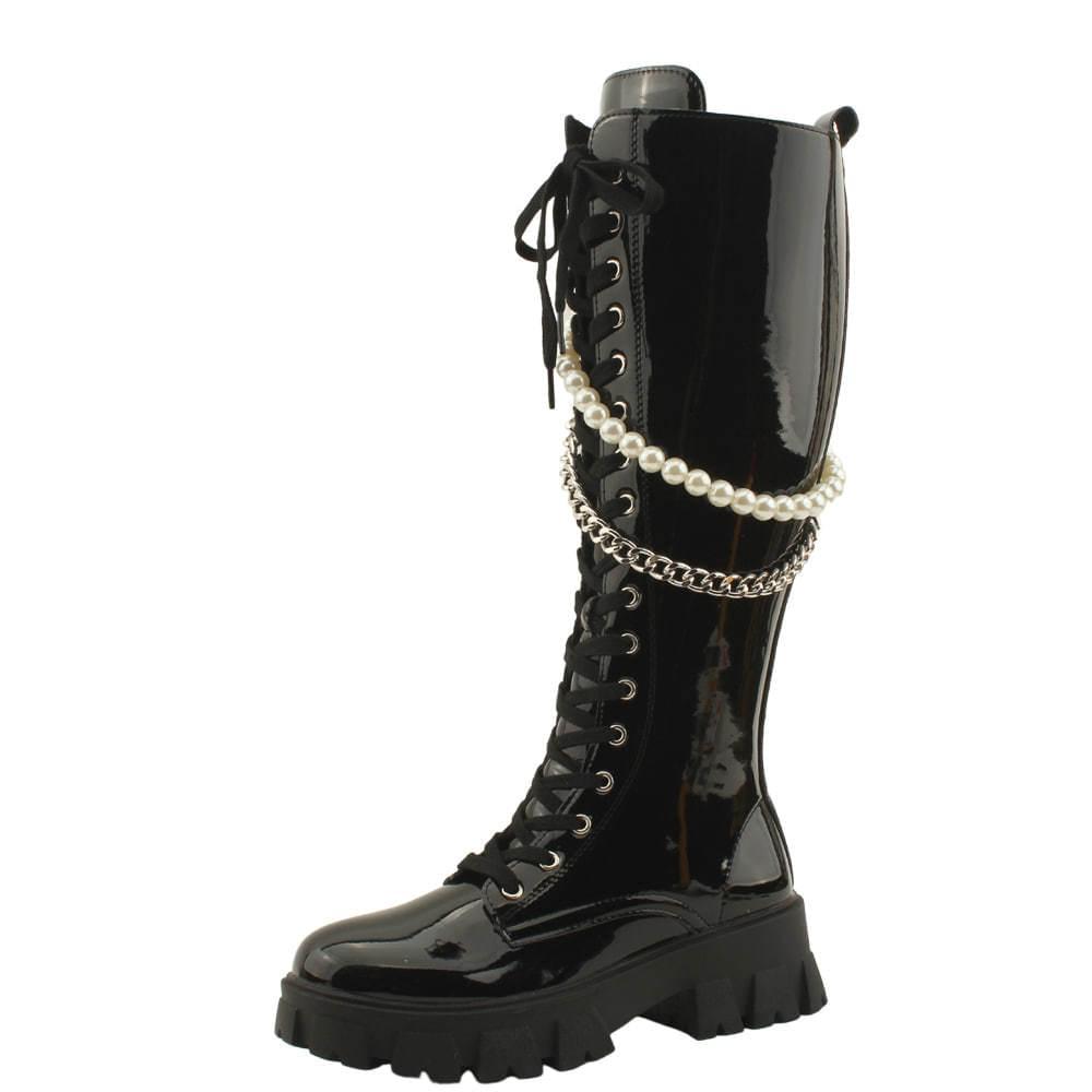 Pearl Chain Enamel Flat Worker Long Boots