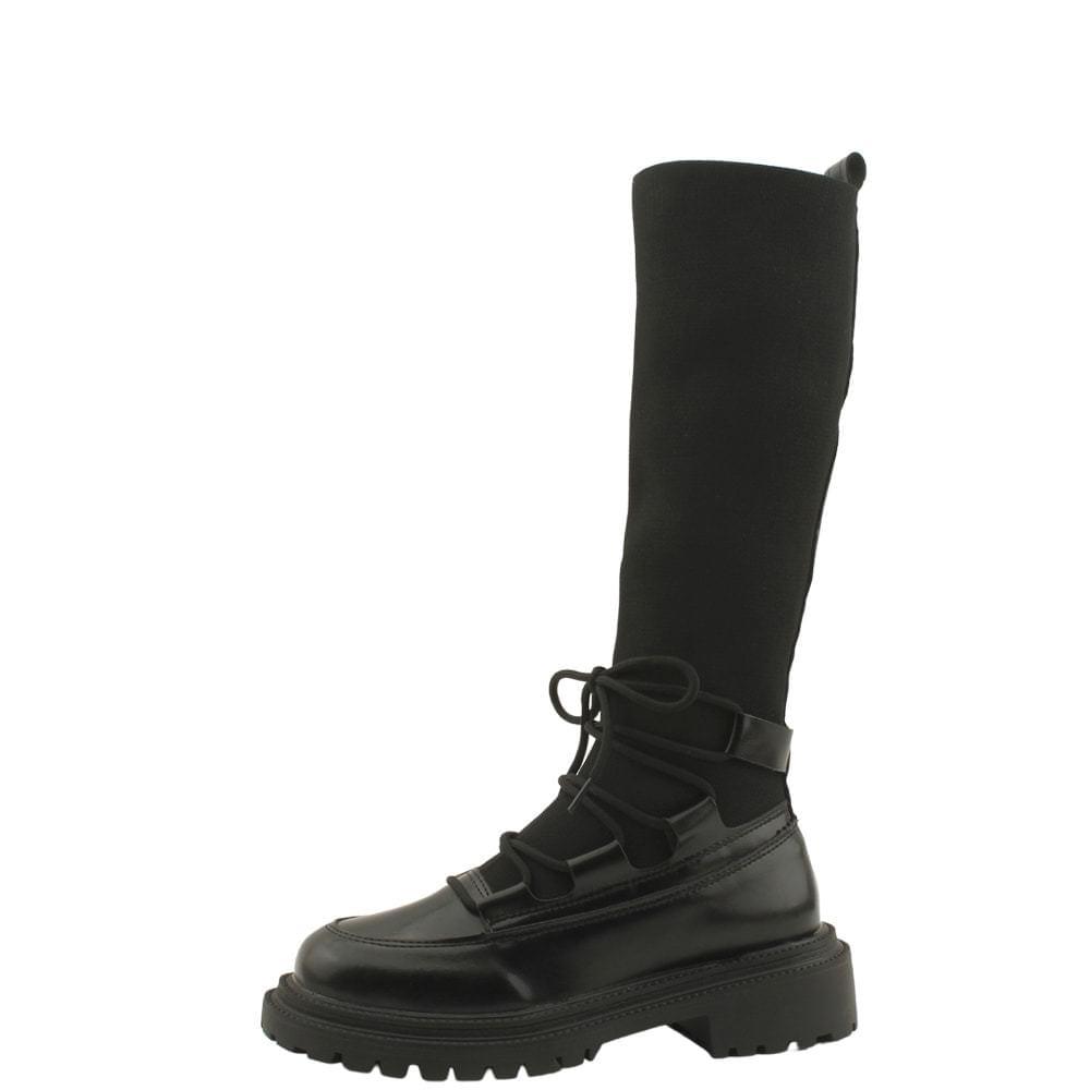 Knitwear Slim Socks Flat Long Boots Black