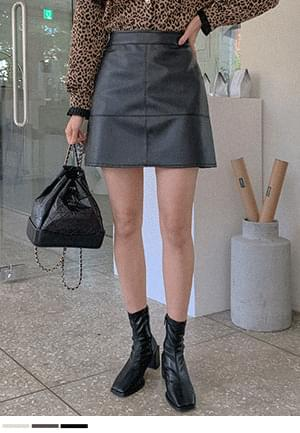 More attractive leather mini skirt