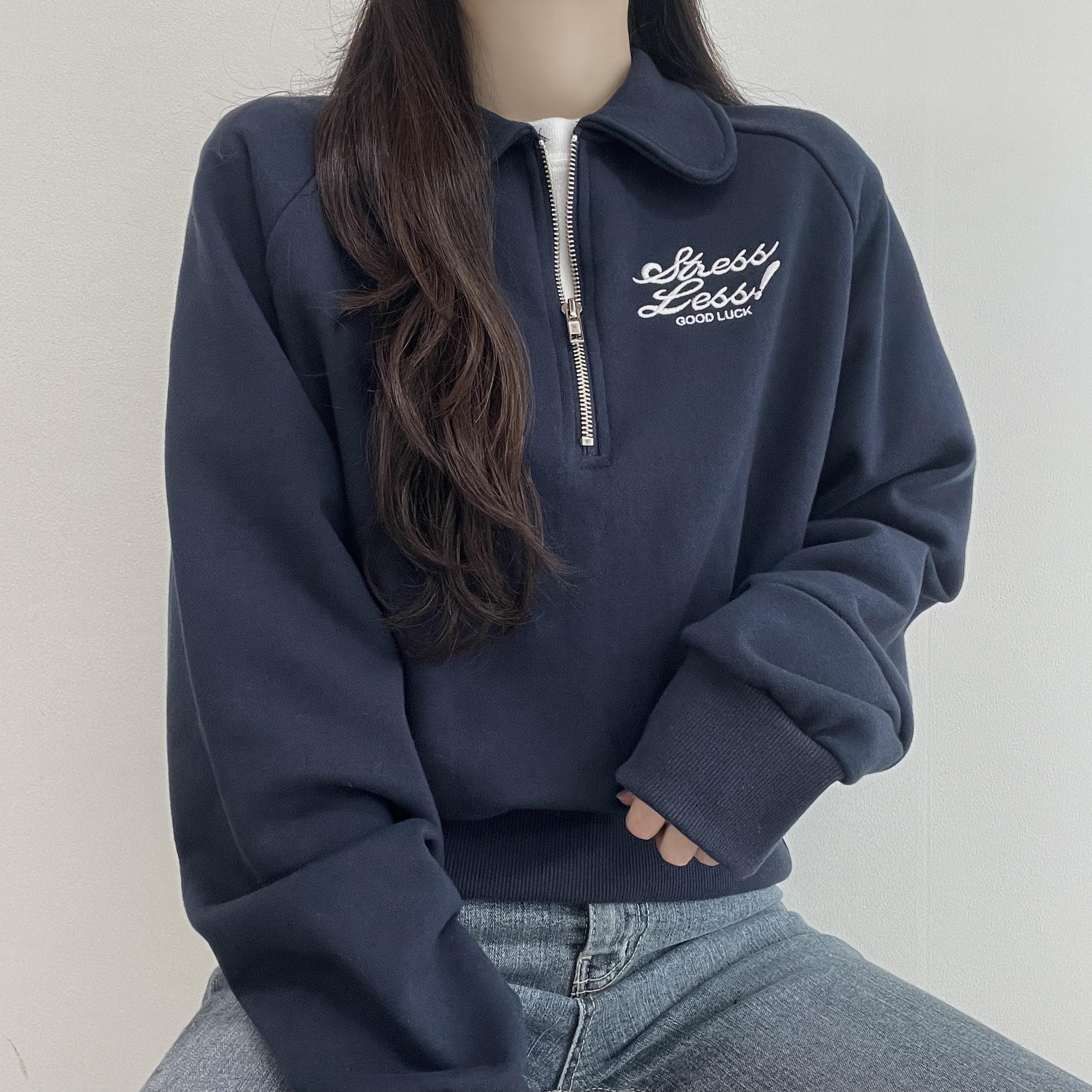 Good Luck, KARA's semi-zip-up Anorak Daily Sweatshirt