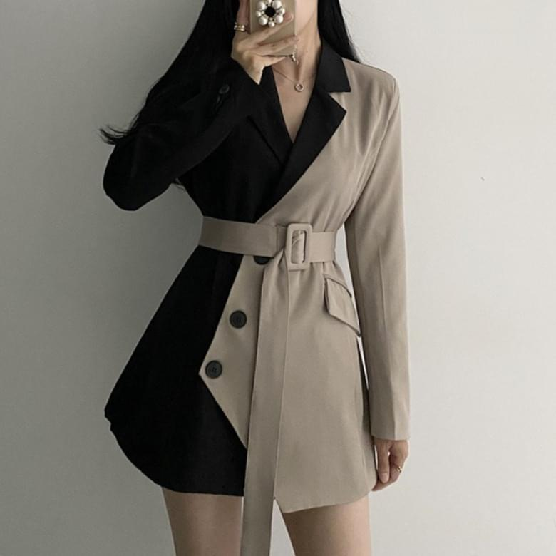 Reanu color matching belted one- Dress jacket