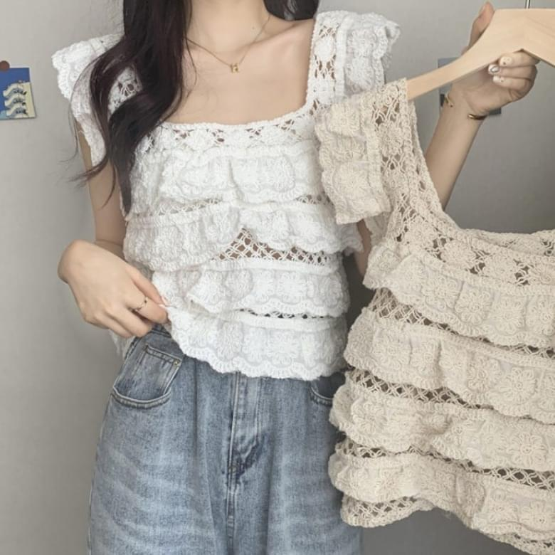 vintage knitted wavy blouse