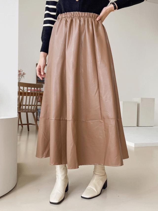Big Size 26-38 Inch Oak Leather Fleece-lined Banding Long Skirt