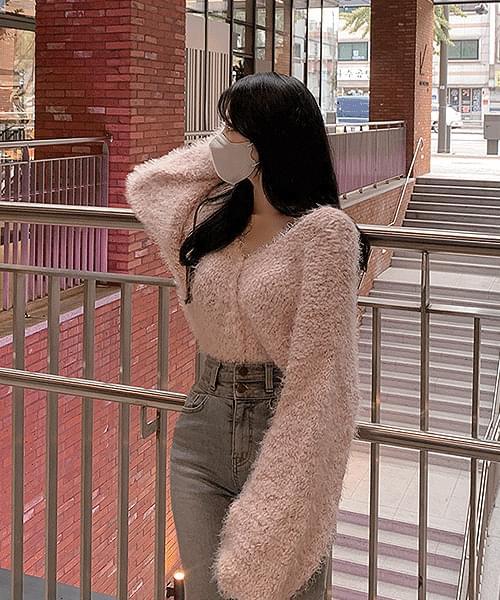 Pink Snowflake Sheep V-Neck Loose-fit Long Sleeve Knitwear Cardigan