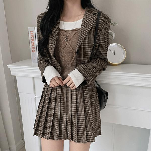 Jerry Check Pleated Mini Skirt
