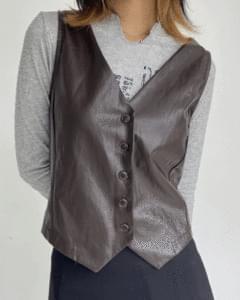 Vintage Leather V Vest
