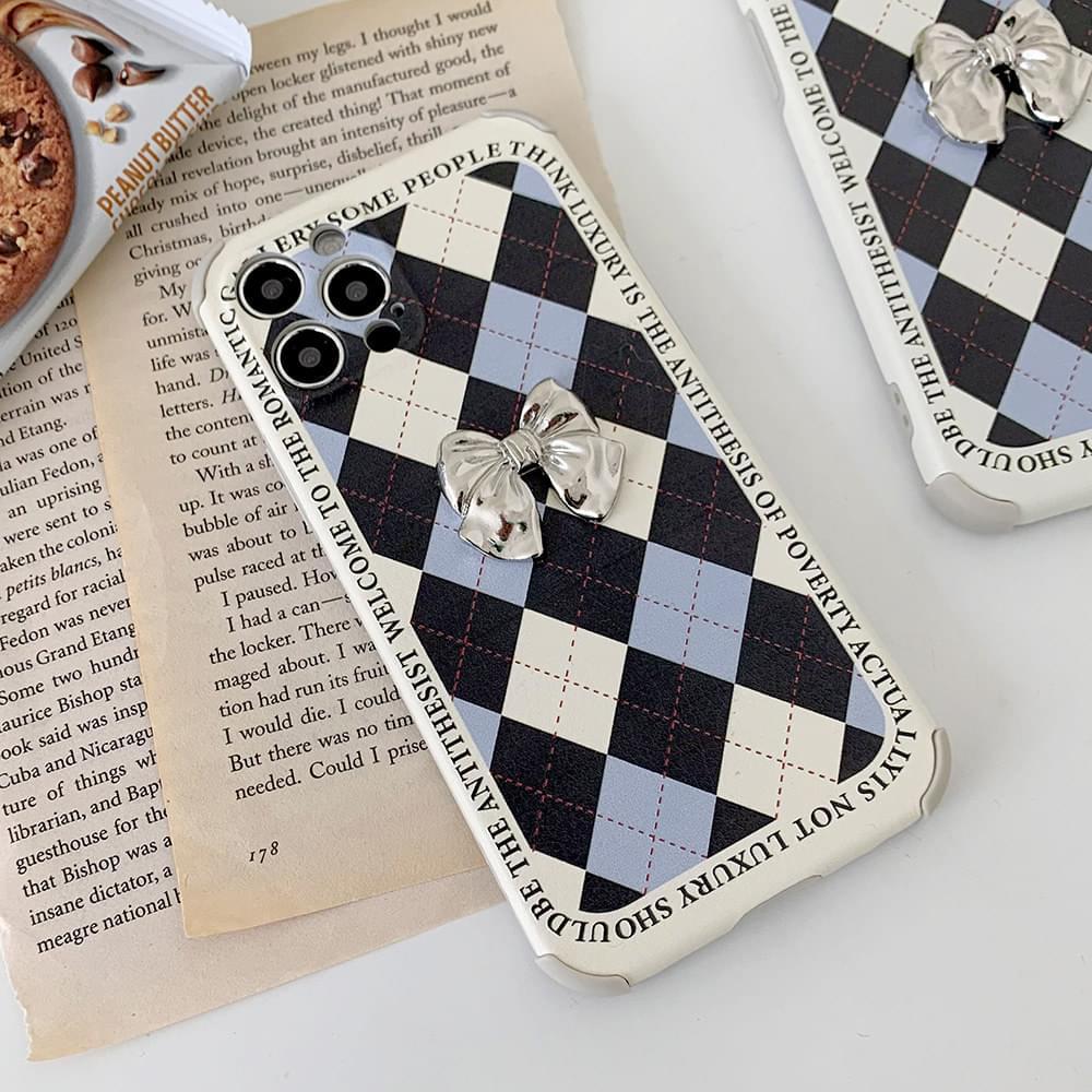 School Argyle Silver Ribbon Matte iPhone Case