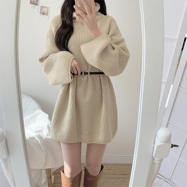 Month Knitwear Turtleneck Mini Dress