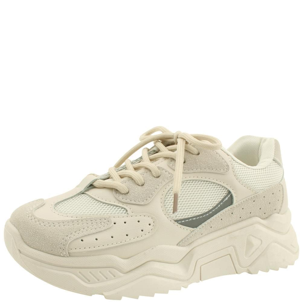 Mesh Punched Heel Sneakers Beige
