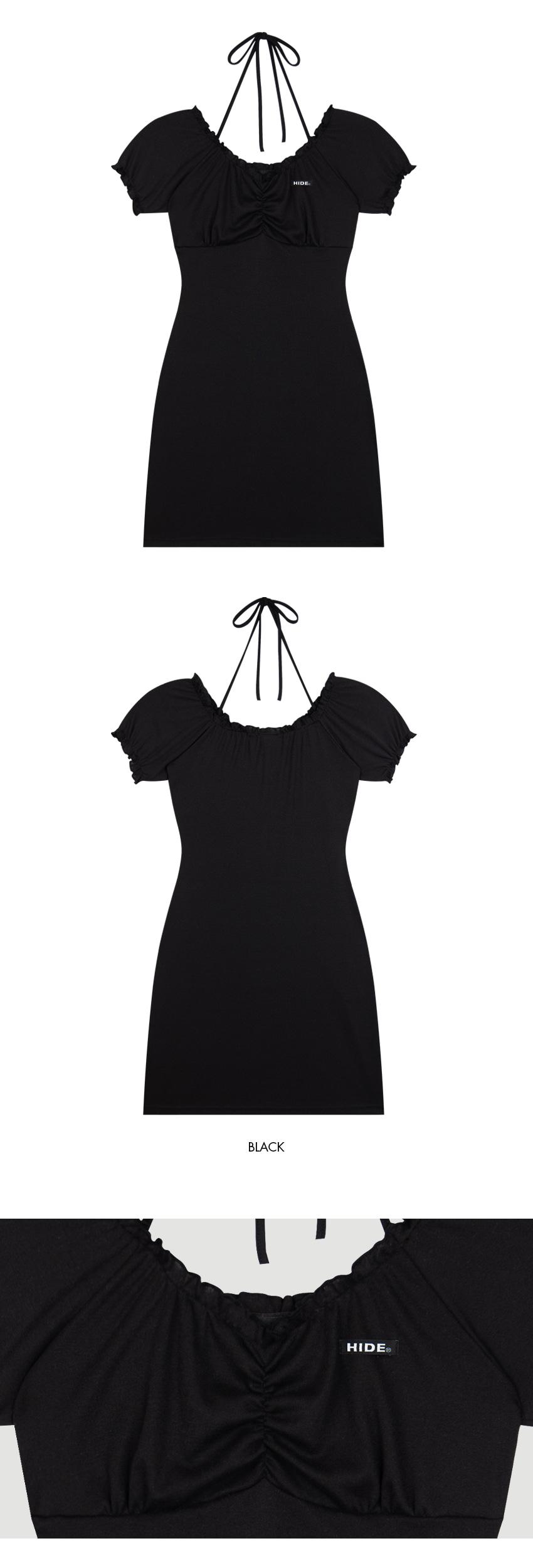 HIDEHalter Strap Puff Sleeve Dress