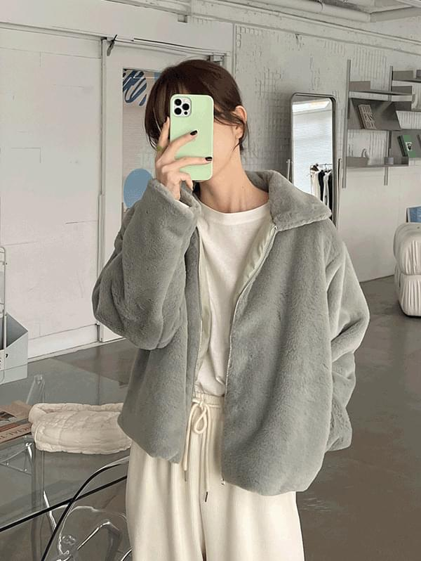 Like now overfit collar fur jacket -3color