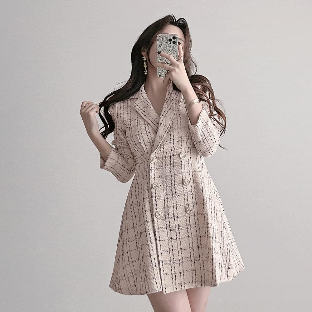 slender cream double check tweed Dress