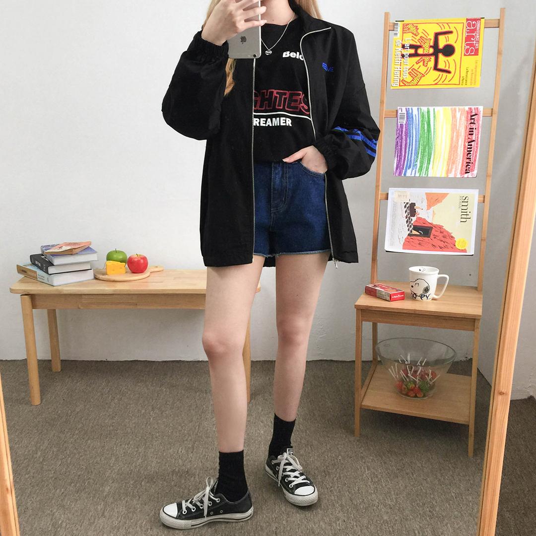 Striped Sleeve Zip-Front Jacket