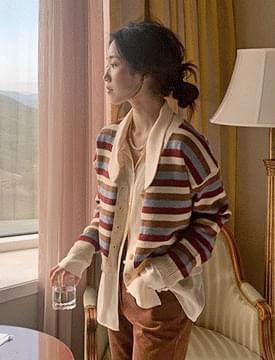 Unique striped wool cardigan