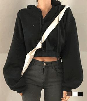 Single Fleece-lined cropped hooded Sweatshirt