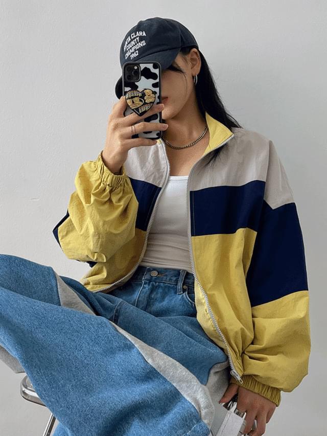 Deminu Overfit Color Matching Jacket
