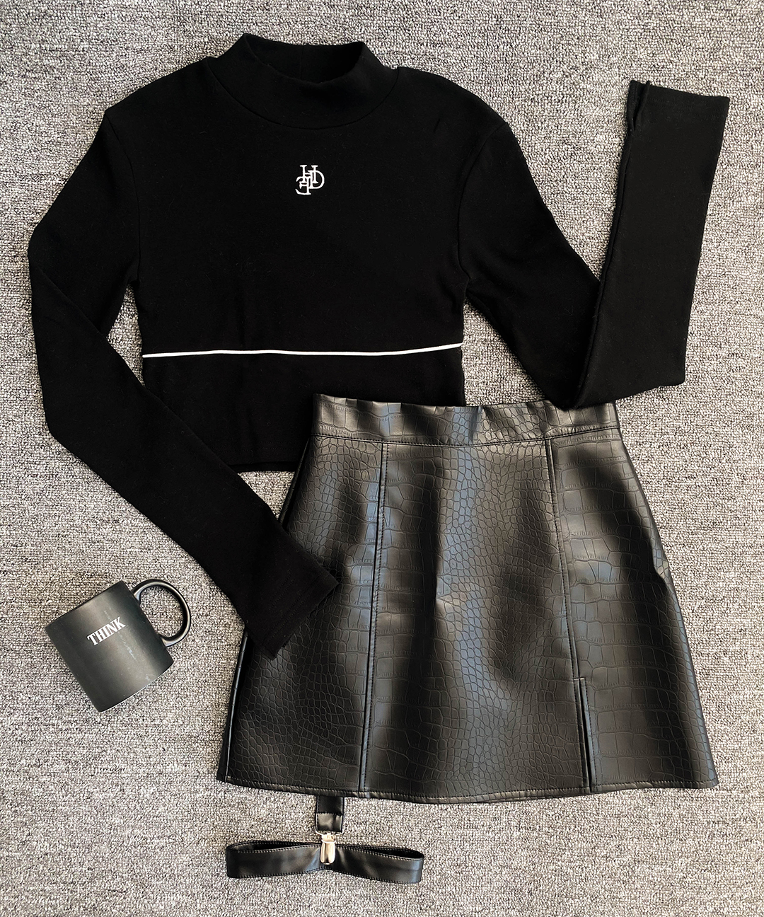 Cropped top leather garter skirt
