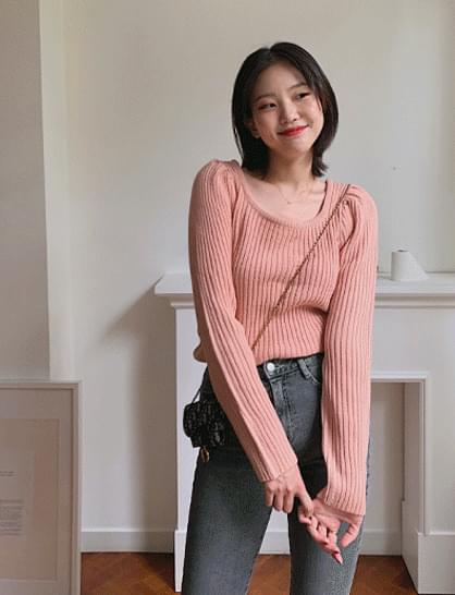 Midnight Square Neck Ribbed Knitwear
