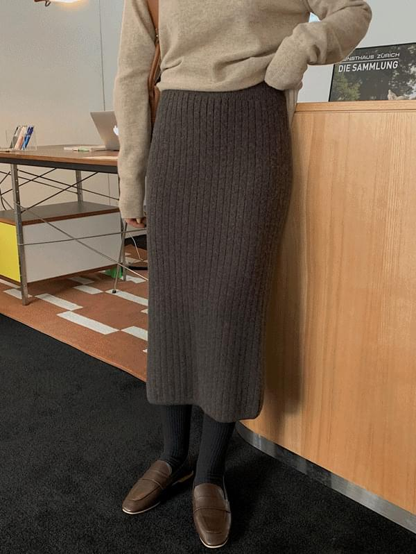 Ned Ribbed Knitwear Skirt