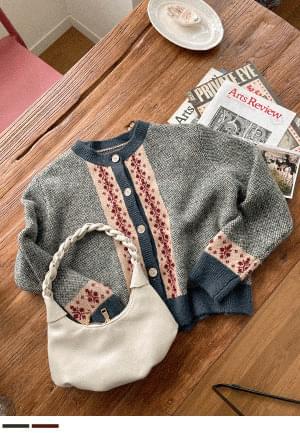 ethnic pattern color cardigan