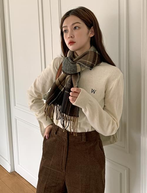 W Embroidered Fine Wool Round Knitwear