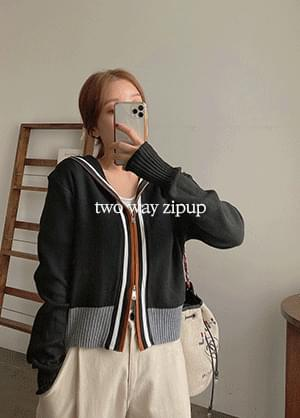 Anadine Wool Knitwear Color Matching Two-Way Hooded Zip-Up