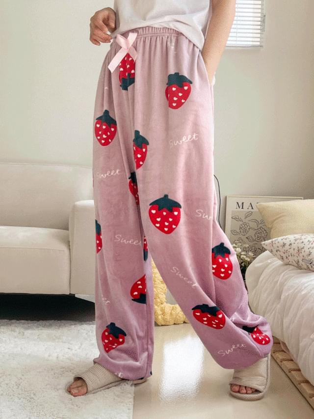 Big Size 26-44 Inch Berry Microfiber Pajama Banding Jogger Pants