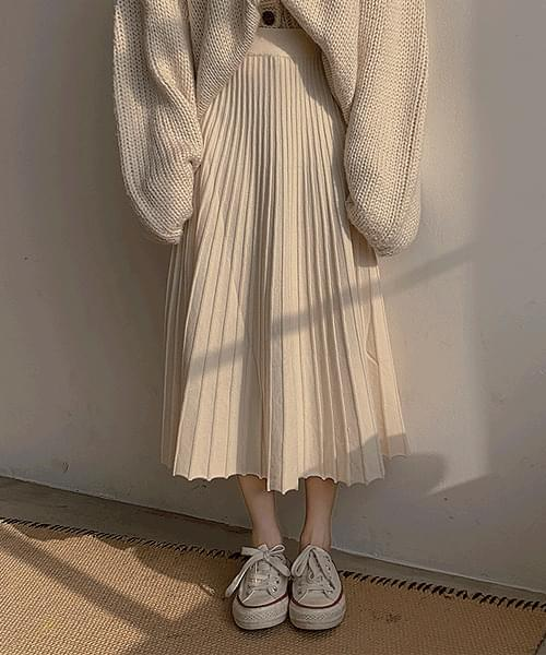 Winter Romance Banding Pleated Knitwear Long Skirt