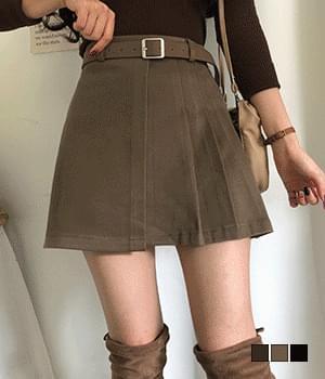 Warm texture belt set pleated mini skirt