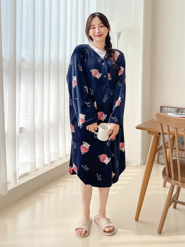 Big Size 55-120 Cake Microfiber Pajama Long Dress Cardigan