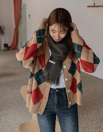 Vivid Argyle V-Neck Knitwear Cardigan