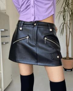 low-waisted leather pocket miniskirt