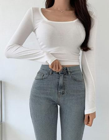 Coming Square Neck Cropped Long Sleeve T-shirt