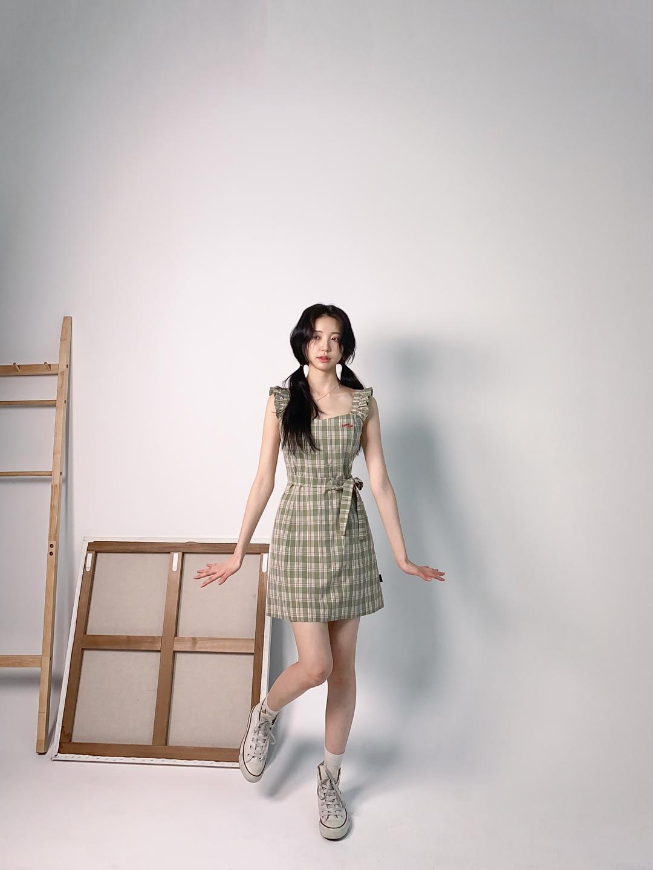 HEART CLUBSelf-Tie Waist Check Mini Dress