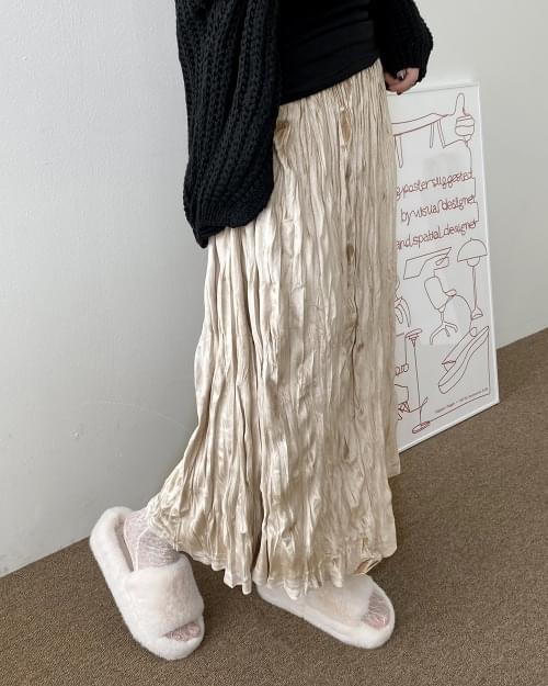 Xabi suede pleated long skirt