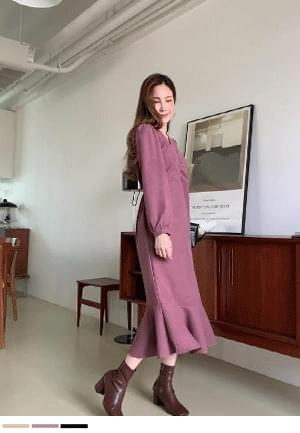 Feminine shirring long Dress