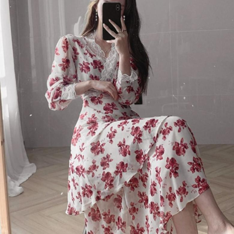 flower lace long Dress