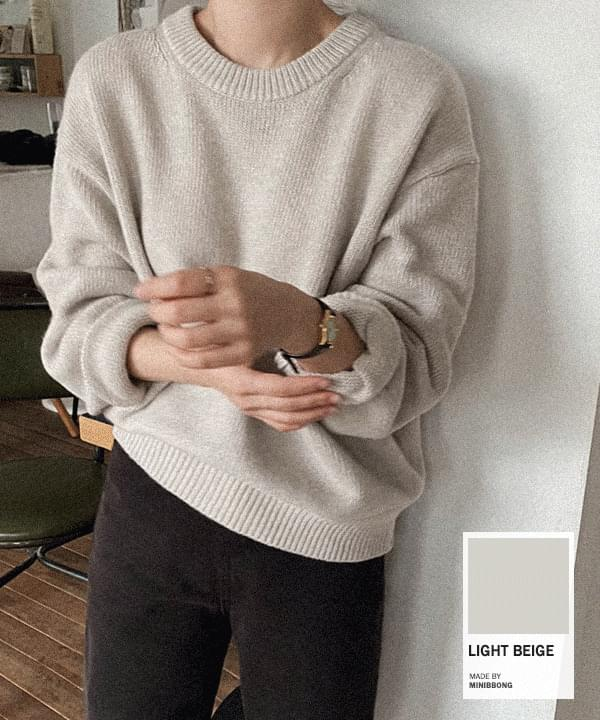 Witty Loose-fit Round Knitwear *
